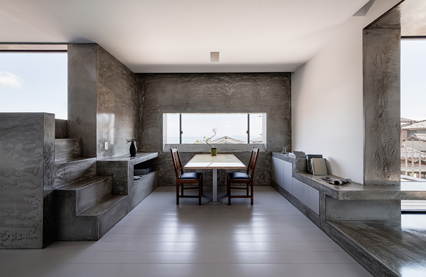 concrete stairs dining