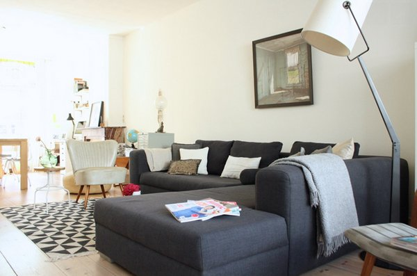 gorgeous grey sofa in the living room