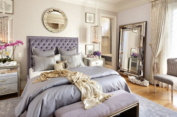 20 Pleasant Purple and Gold Bedrooms   Home Design Lover gold satin sheets