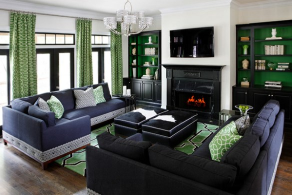 20 Gorgeous Black and Green Living Rooms   Home Design Lover furniture designs