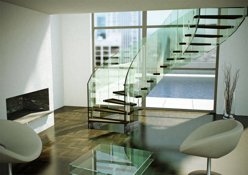 22 Sleek Glass Railings For The Stairs Home Design Lover | Living Room Railing Design | Balcony | Stair Case | Flooring | Step Down | Wrought Iron