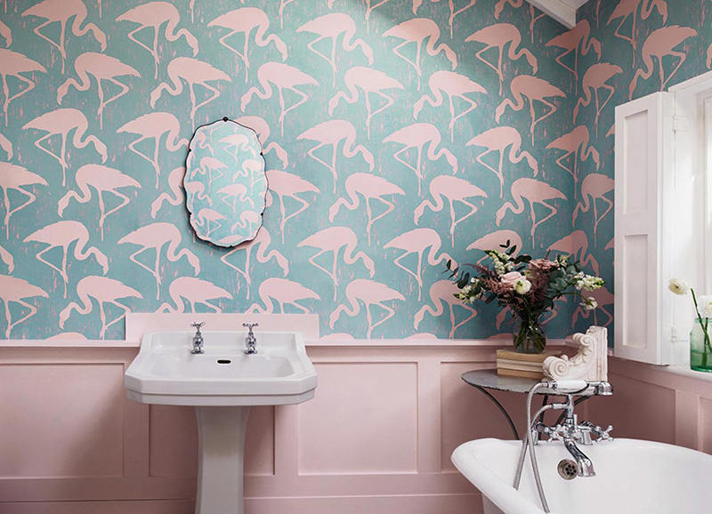 20 Designs of Stylish Bathroom Wallpapers   Home Design Lover pastel bathroom wallpaper
