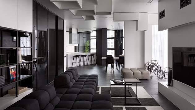 Spacious And Beautiful Modern Black And White Apartment In