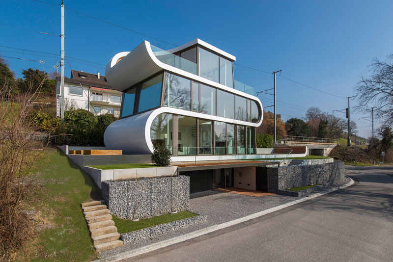 A White Ribbons Winds in the Flex House of Switzerland