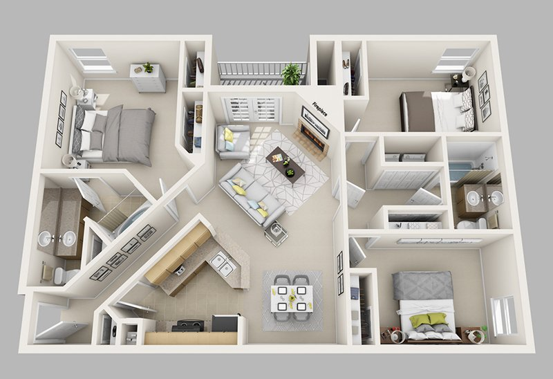 20 Designs Ideas For 3D Apartment Or One-Storey Three