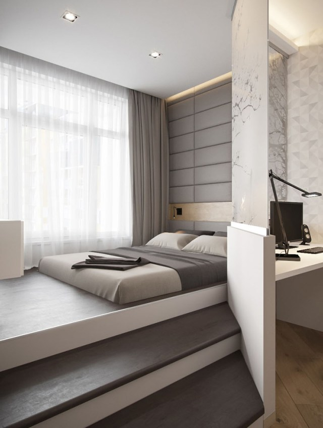 A Modern Small Apartment With An Elevated Bedroom | Home ...