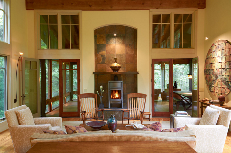 Contemporary Mount  Indoor Wood Burning Fireplaces