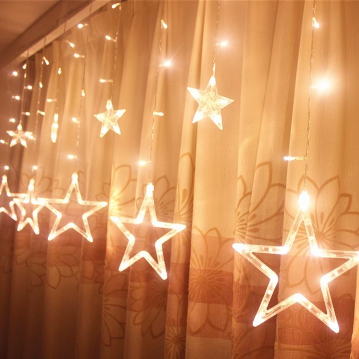 Unique   Decorative String Light for Holidays   Home Designing Star Curtain Lights