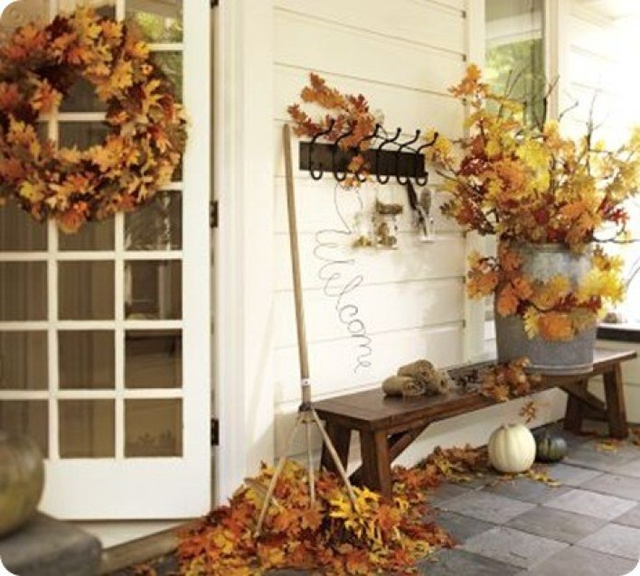 Leaves on the porch