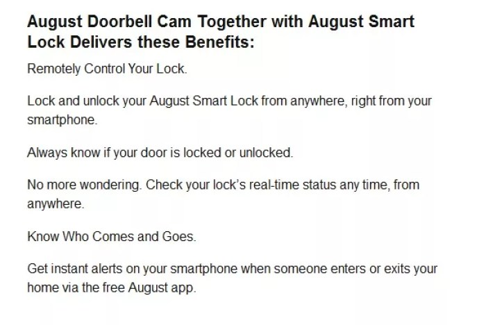 August Doorbell cam benefits