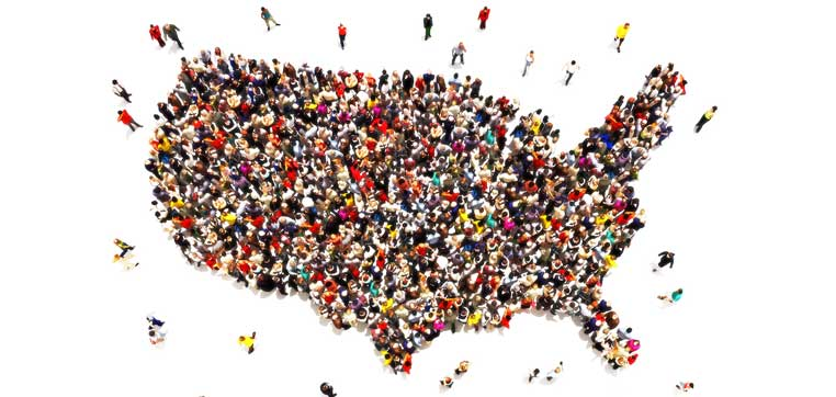 People in the shapre of the United States representing good citizenship