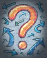 Question mark with arrows