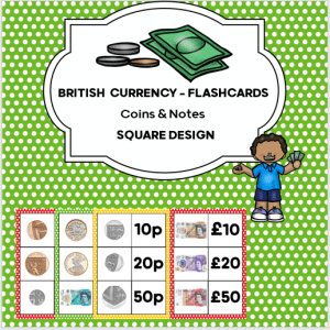 Currency Flash Cards to teach children about money.