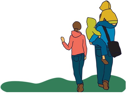 Illustration of a parent walking with their children