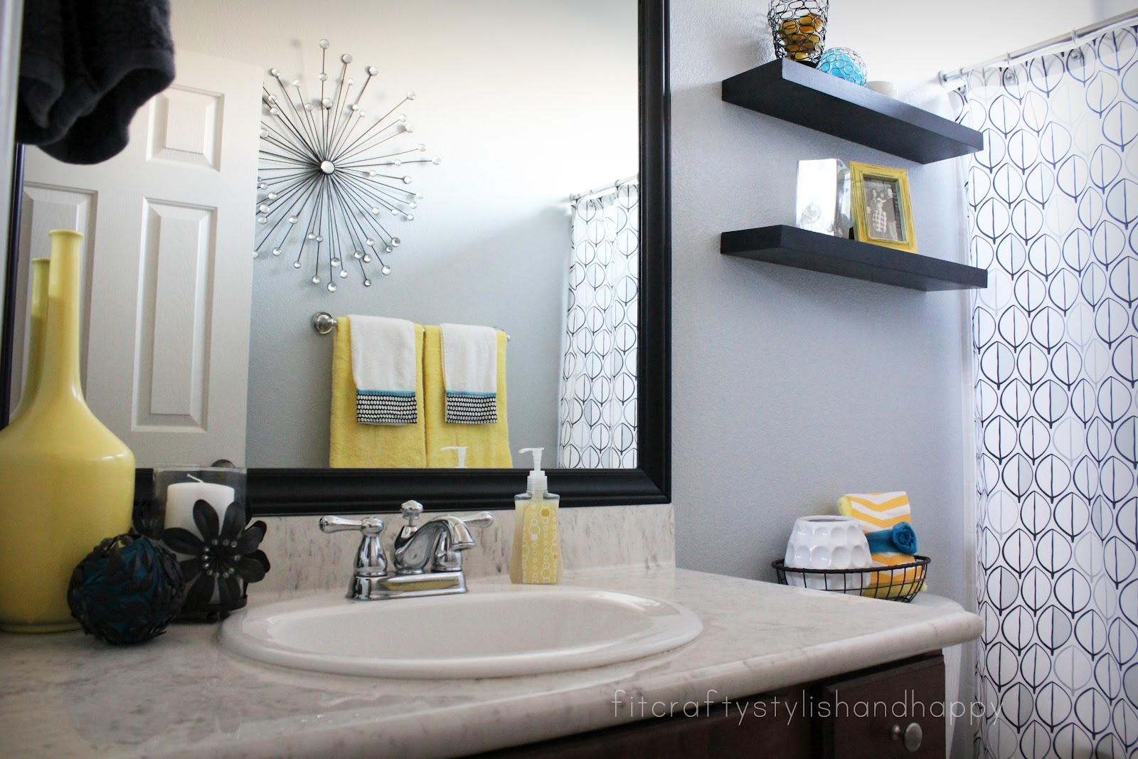 yellow and grey bathroom - large and beautiful photos. photo to