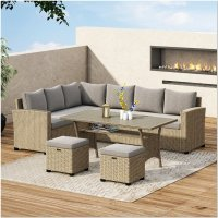 Lublin Goals 5 Piece Rattan Sofa Seating Group With Cushions
