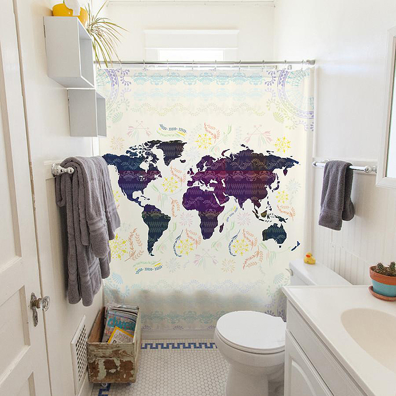 Bohemian Map Shower Curtain