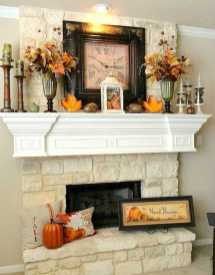 DIY Fall Living Room Decoration With Fireplace Ideas0007