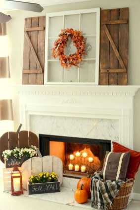 DIY Fall Living Room Decoration With Fireplace Ideas0019