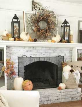 DIY Fall Living Room Decoration With Fireplace Ideas0022