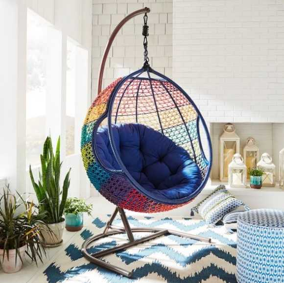 Rainbow Colored Indoor Hanging Chair With Stand