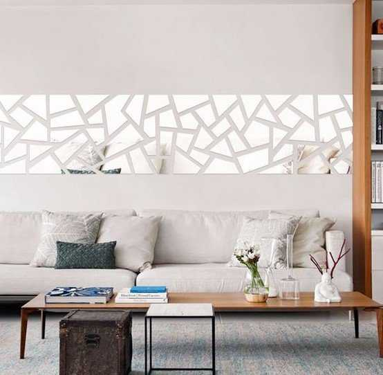 Modern Geo Mirror Wall Decal Over The Sofa For A Modern Feel