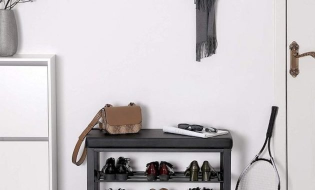 Black Entryway Bench With Black Faux Leather Cushion Small 1 Person