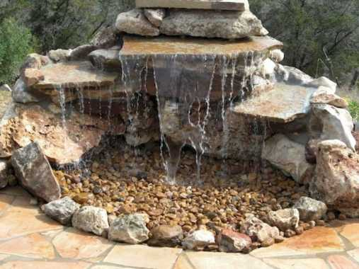 Pondless Water Fixture Made Only Of Natural Stones Waterfall