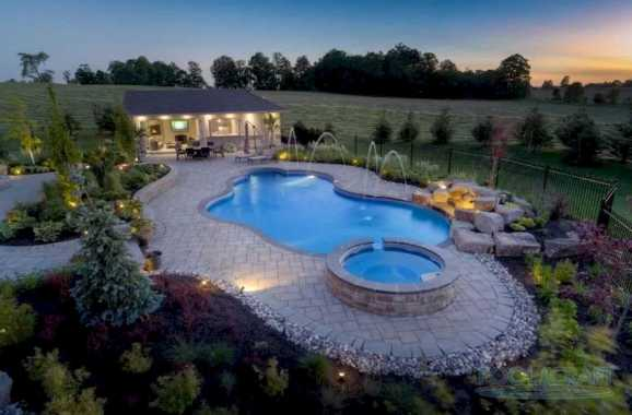 Aerial View Of This Home's Custom Pool