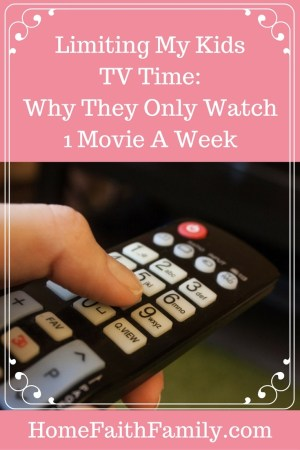 Limiting My Kids TV Time - Why They Only Watch 1 Movie a Week   Are you wanting to limit your kid's tv time, but don't know where to start? Limiting my kids TV time has been the best! Here are 5 reasons why they only watch 90 minutes of television a week. Reason #3 was our main reason for starting. Click to read!