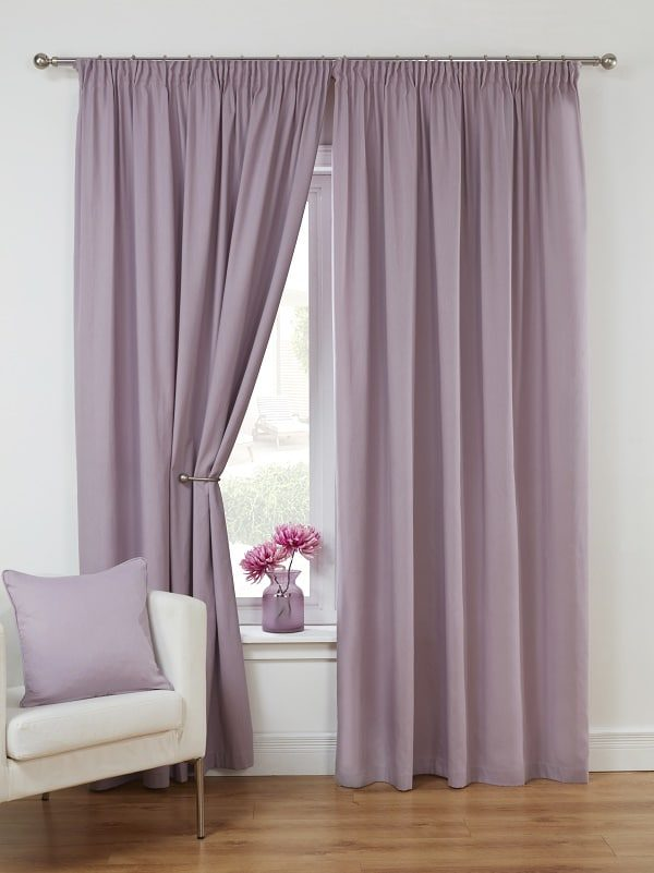 Mauve Unlined Pencil Pleat Curtains Pair Canvas Collection Homefords