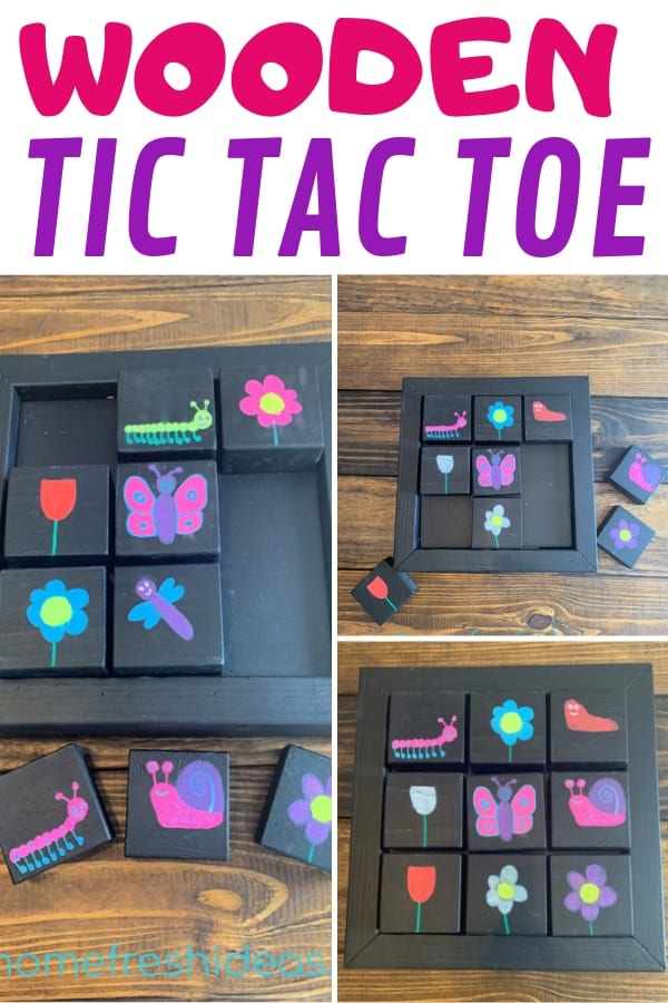 Wooden Tic Tac Toe Game - Completed Game