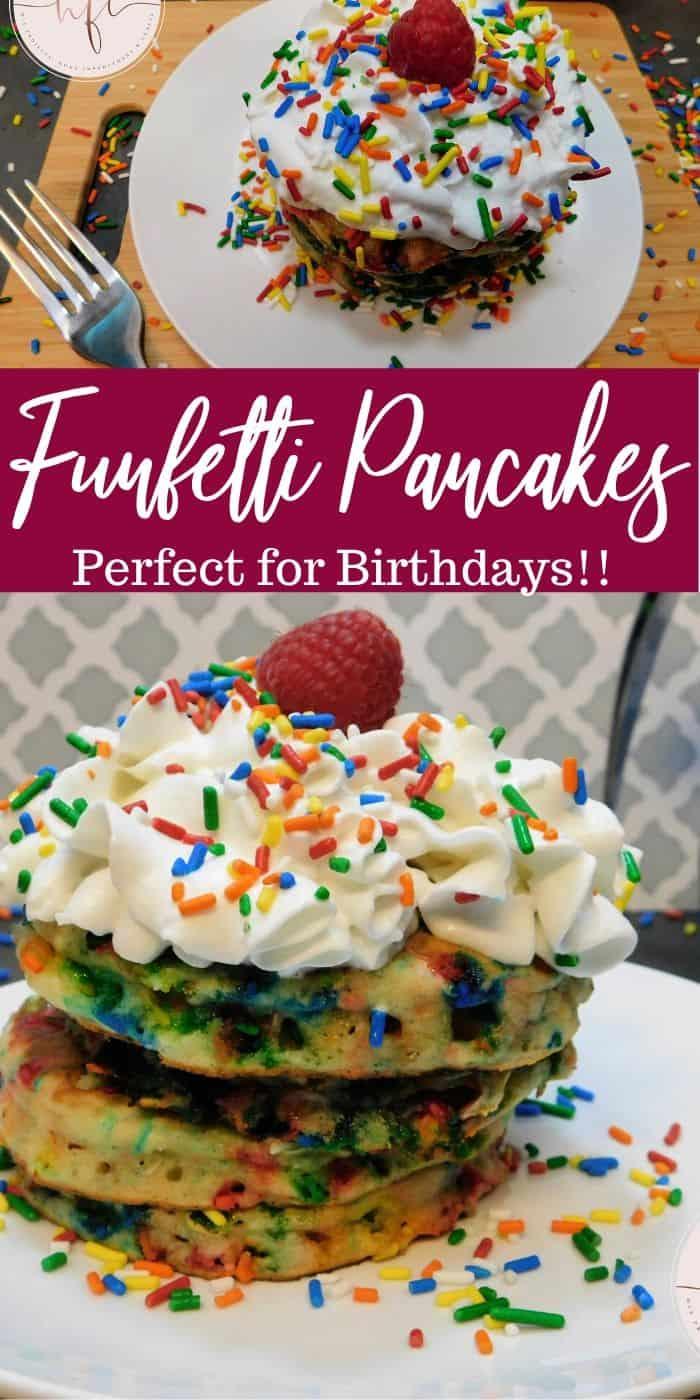 Birthday Cake Funfetti Pancakes Recipe - PIN Image