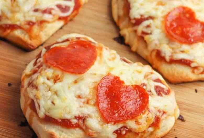 Pizza hearts ready to eat