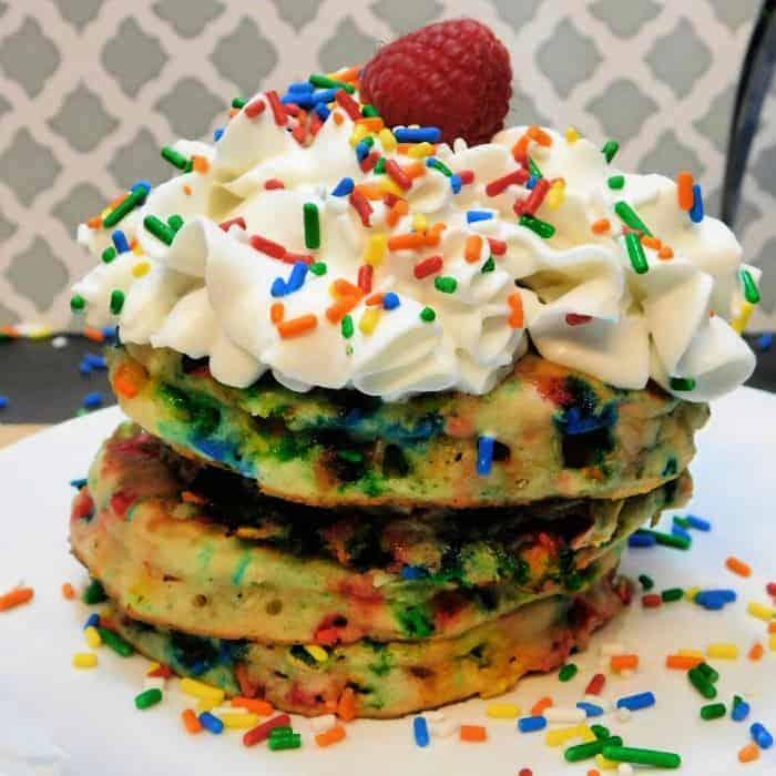 stack of ready to serve pancakes with whipped topping