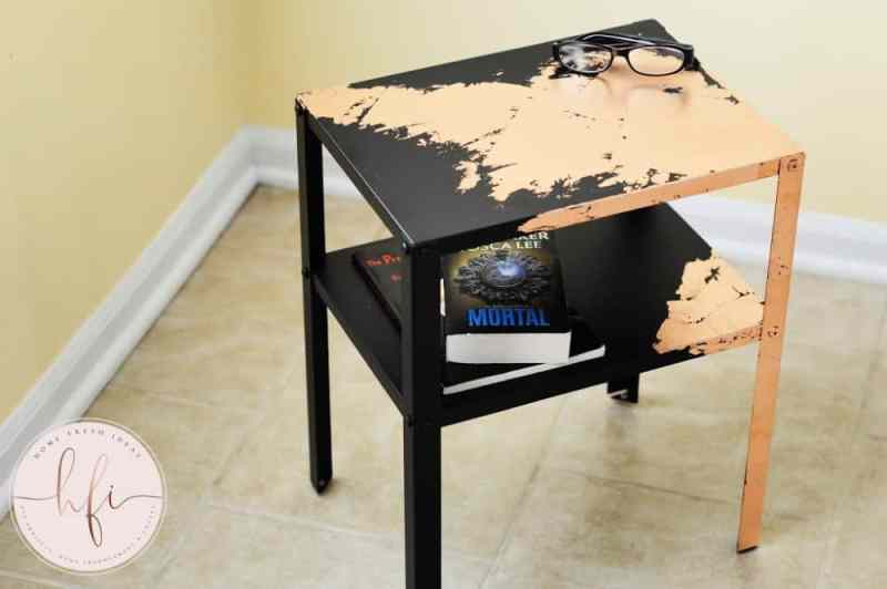 Gorgeous IKEA Side Table Furniture Makeover - Transform an ordinary piece of by giving an IKEA Side Table a beautiful Furniture Makeover! Add some style and make it as fun or funky as you wish! #IKEA #furniture #makeover #glam #style #sidetable #easy #simple #copperleaf #elegant #fun #homefreshideas