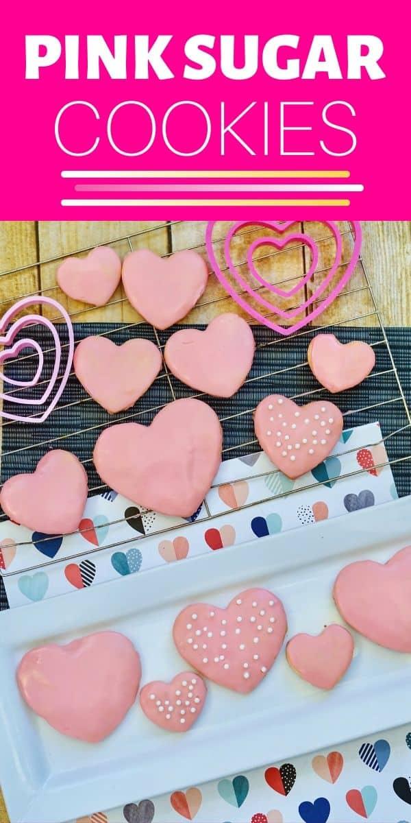 Valentine's Day Pink Sugar Cookies Recipe - PIN IMAGE