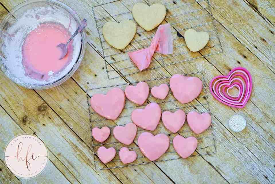 freshly iced pink sugar cookies
