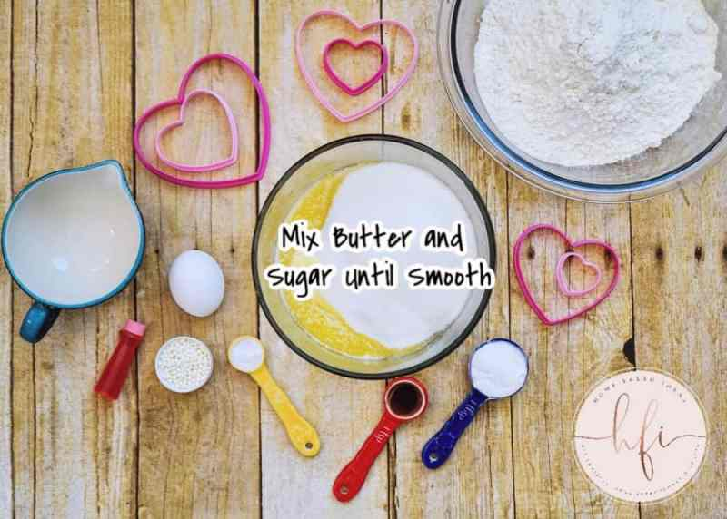 mixing ingredients for pink sugar cookies