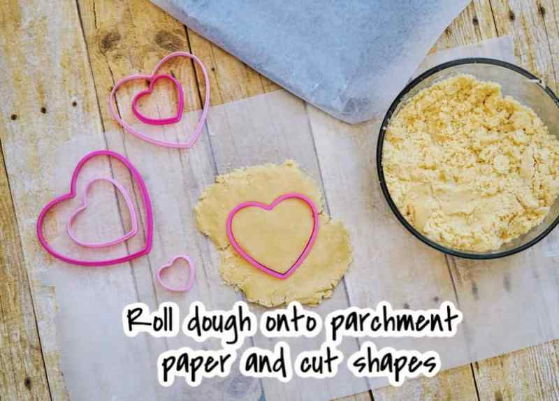 cutting out shapes for cookies