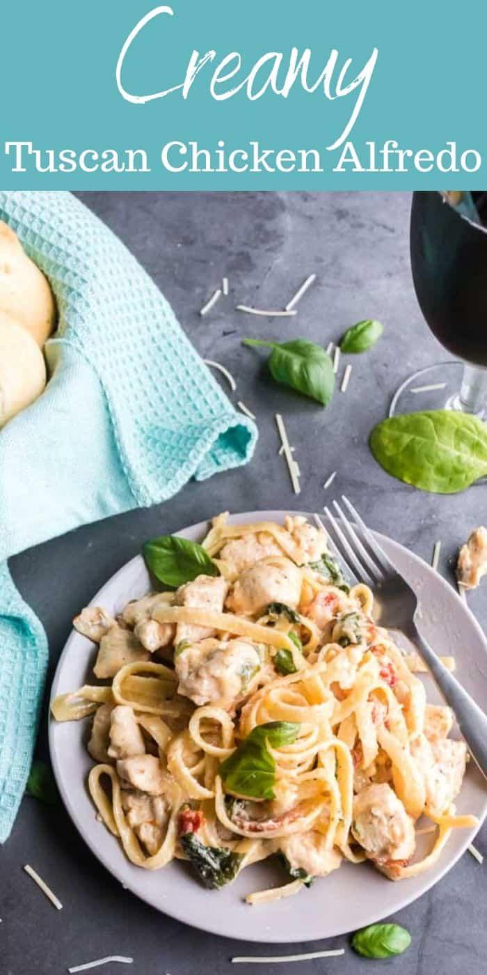 Creamy Tuscan Chicken Alfredo Recipe - Creamy Tuscan Chicken Alfredo is loaded with sun-dried tomatoes, plump juicy chicken, bacon, fettuccine noodles, garlic, spinach and cheese. #alfredo #chicken #tuscan #italian #easy #dinner #easy #homefreshideas