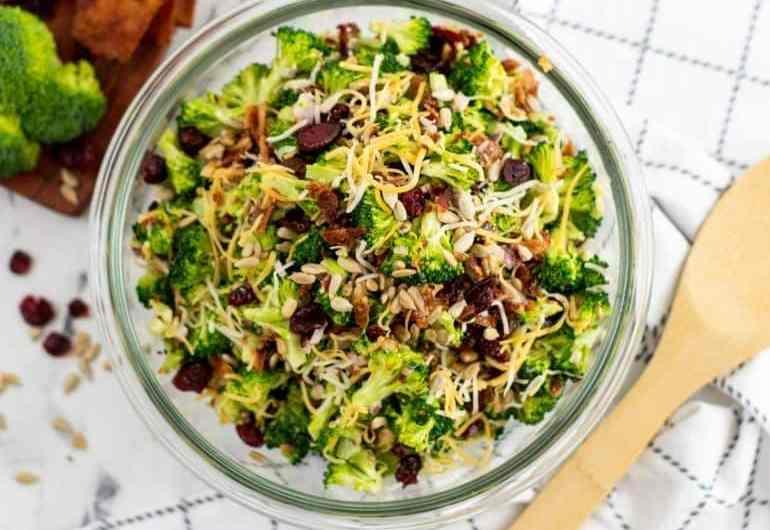 broccoli salad in a bowl on table