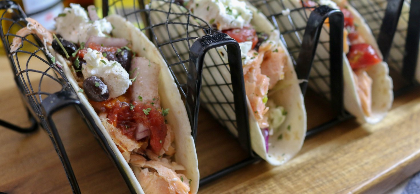 Grilled Citrus Salmon Tacos with Black Bean Tomato Salsa + Slaw