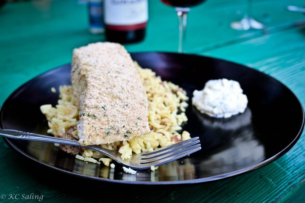 Lemon Breaded Halibut Fillets on Orzo