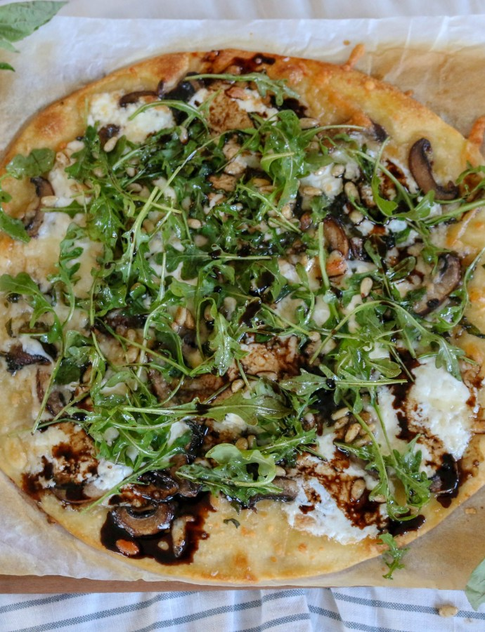 Mushroom Burrata Pizza with Balsamic Drizzle