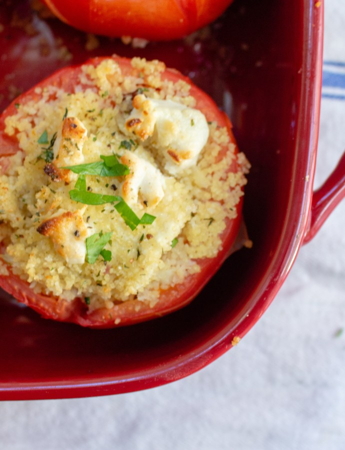 Couscous + Goat Cheese Stuffed Tomatoes