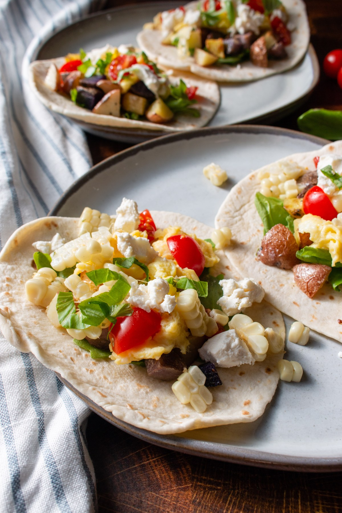 corn and tomato breakfast tacos