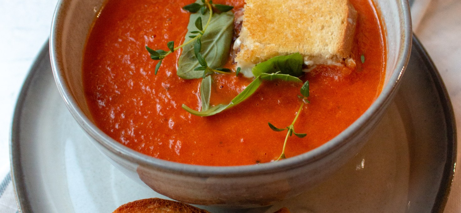 Tomato Basil Soup with Bacon Blue Cheese Croutons