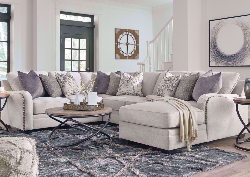 dellara sectional sofa right chaise off white
