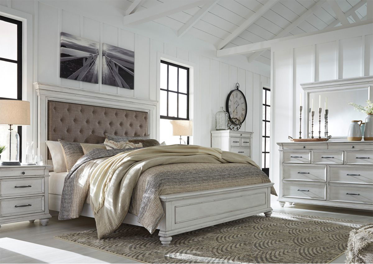 kanwyn queen size upholstered bedroom set white